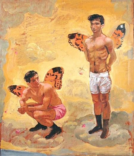 Γιάννης Τσαρούχης - Δύο άντρες με φτερά πεταλούδας, μαύρα παπούτσια. 1965