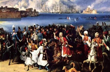 Λεπτομέρεια από τον πίνακα του Hess που απεικονίζει την άφιξη του Όθωνα στο Ναύπλιο περιτριγυρισμένος από Βαυαρούς.