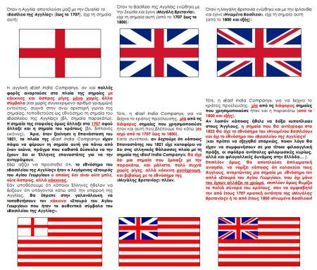 Εικόνα 2: Οι αλλαγές της Αγγλικής Σημαίας και οι αντίστοιχες αλλαγές στο εθνόσημο που έφεραν στην αριστερή τους γωνία κάποιες σημαίες της East India Company.