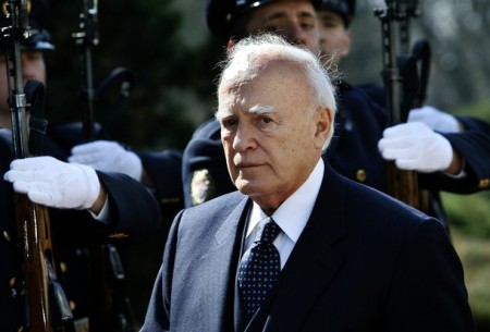 Greek President Karolos Papoulias inspec