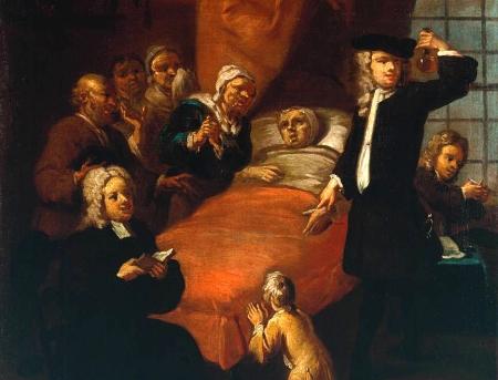 The Doctor's Visit circa 1725 by Egbert Van Heemskerk III active circa 1700-1744