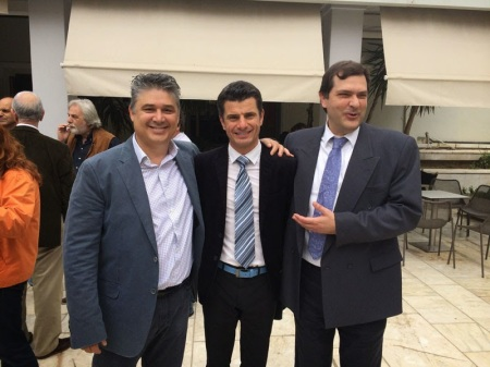 Οι συναγωνιστές και υποψήφιοι  Γ. Πιερουτσάκος, Π. Ολάγια, Γ. Μαγγανάς