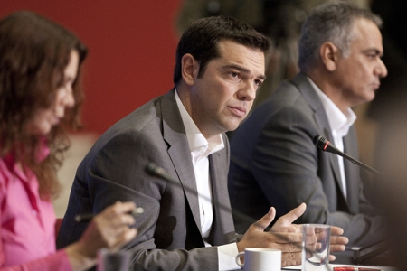 Syriza leader Alexis Tsipras at a press conference during the 77th International Fair in Thessaloniki, Greece. (Photo: Ververidis Vasilis / Shutterstock.com)