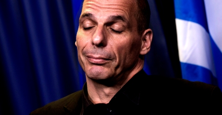 Greek Finance Minister Yanis Varoufakis answers questions during a media conference after a meeting of eurogroup finance ministers in Brussels on Saturday, June 27, 2015. Anxiety over Greece's future swelled on Saturday after Prime Minister Alexis Tsipras' call to have the people vote on a proposed bailout deal. (AP Photo/Virginia Mayo)